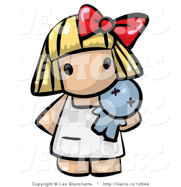 Vector of Cartoon Baby Girl Standing with Toy Doll