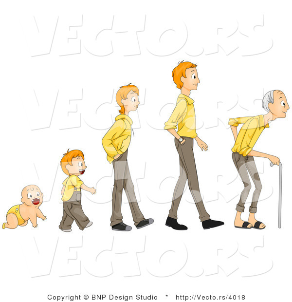 Vector of Cartoon Baby Shown in Stages of Growth from Boy, Teen, Man to Senior Citizen