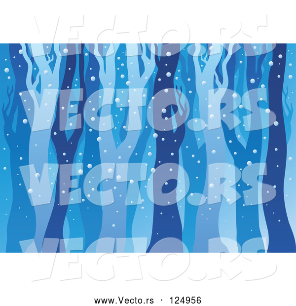 Vector of Cartoon Background of Bare Tree Trunks in the Woods