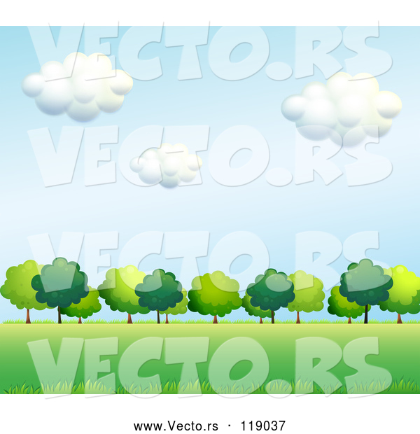 Vector of Cartoon Background of Lush Green Trees and a Field 2