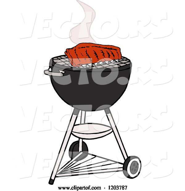 Vector of Cartoon Barbeque Ribs Cooking on a Weber Charcoal Grill