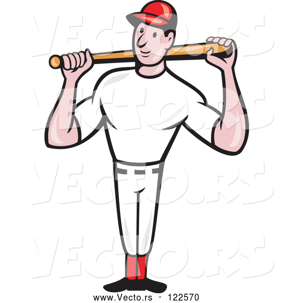 Vector of Cartoon Baseball Player Standing and Holding a Bat over His Shoulders