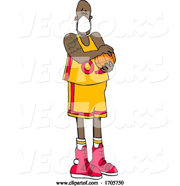 Vector of Cartoon Basketball Player Wearing a Mask