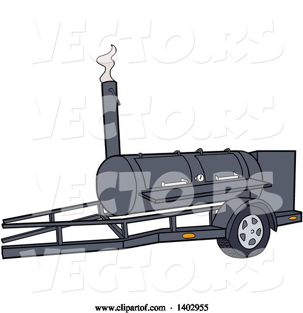 Vector of Cartoon Bbq Cooker on a Trailer