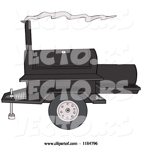 Vector of Cartoon Bbq Grill with Smoke