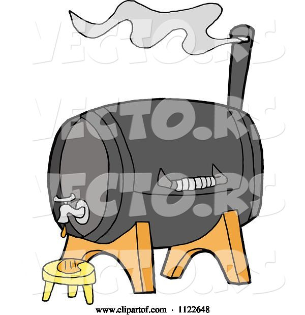 Vector of Cartoon Bbq Smoker Grill with a Faucet
