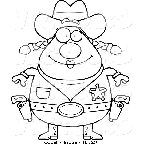 Vector of Cartoon Black and White Chubby Female Cowgirl Sheriff