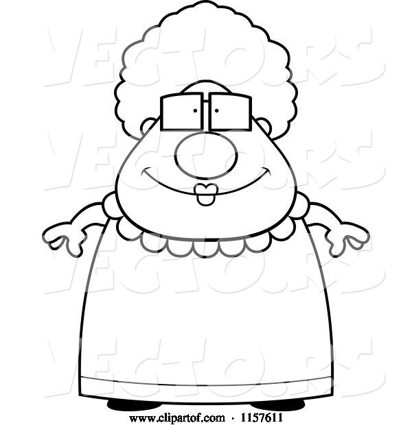 Vector of Cartoon Black and White Chubby Granny in a Pink Dress