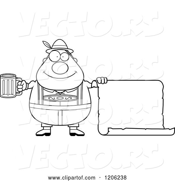 Vector of Cartoon Black and White Happy Chubby Oktoberfest German Guy Holding a Beer and Sign