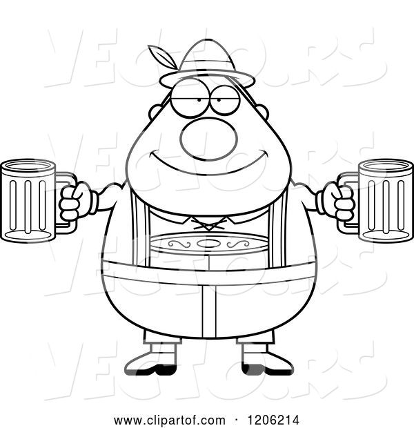 Vector of Cartoon Black and White Happy Chubby Oktoberfest German Guy Holding Two Beers