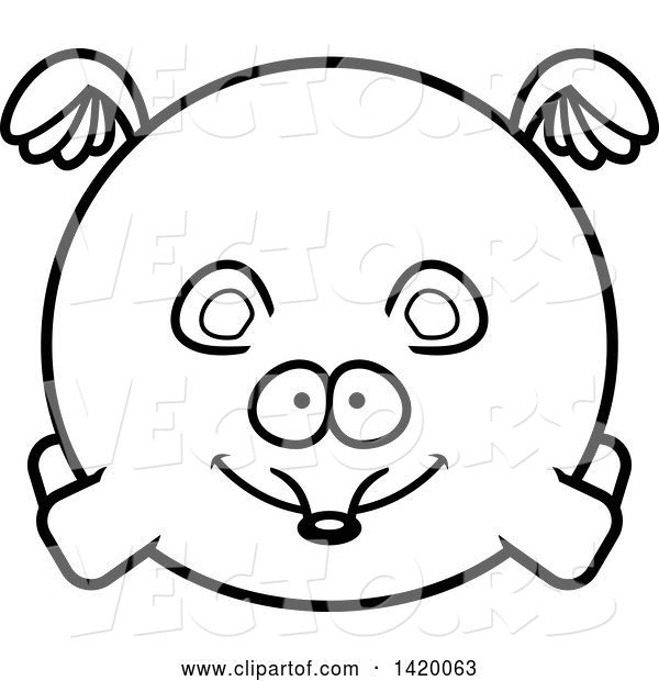 Vector of Cartoon Black and White Lineart Chubby Mouse Flying