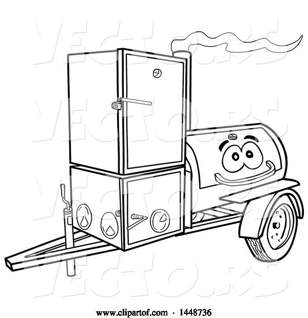 Vector of Cartoon Black and White Lineart Lang Offset Barbeque Smoker Trailer Mascot