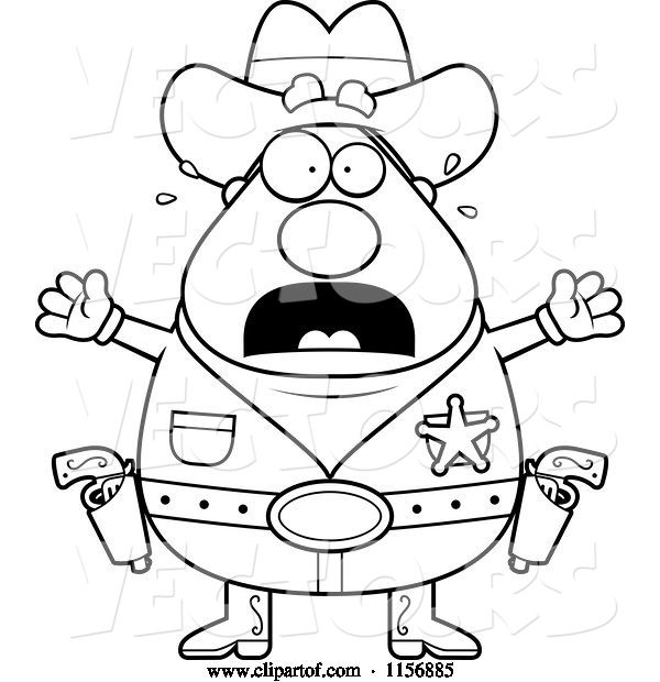 Vector of Cartoon Black and White Plump Scared Sheriff