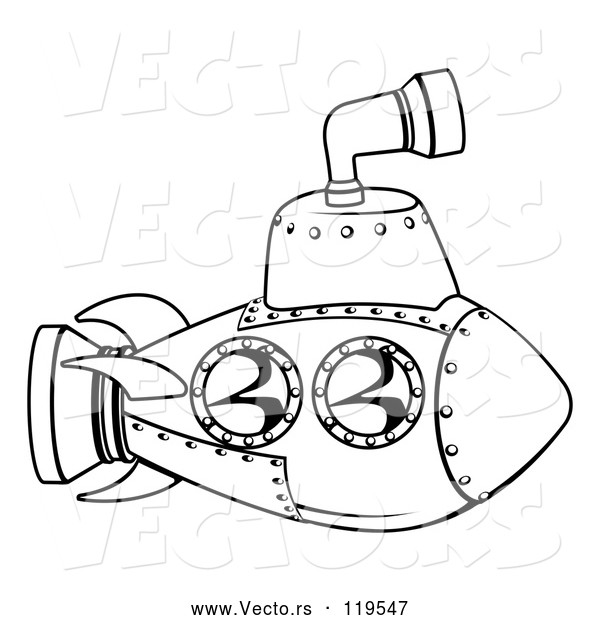 Vector of Cartoon Black and White Submarine Outline