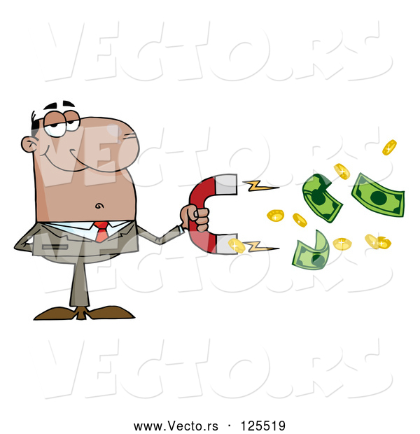 Vector of Cartoon Black Business Man Collecting Cash with a Money Magnet