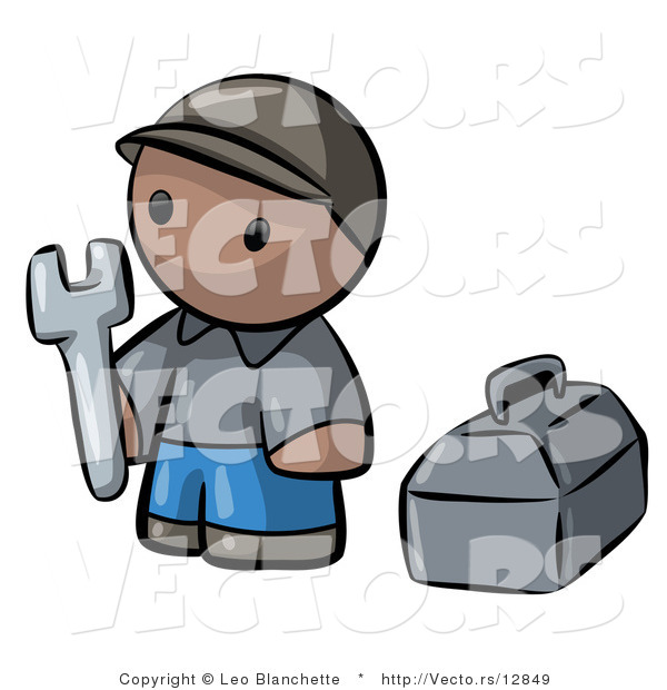 Vector of Cartoon Black Contractor Guy Holding Wrench Beside Toolbox