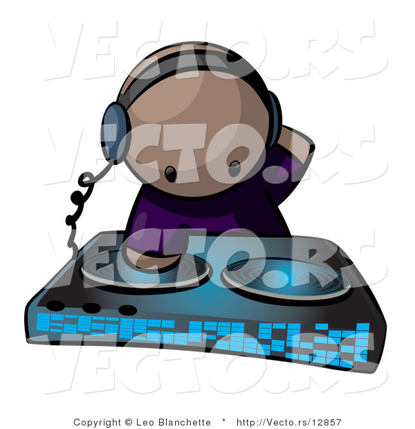 Vector of Cartoon Black Dj Mixing Dual Records at Party