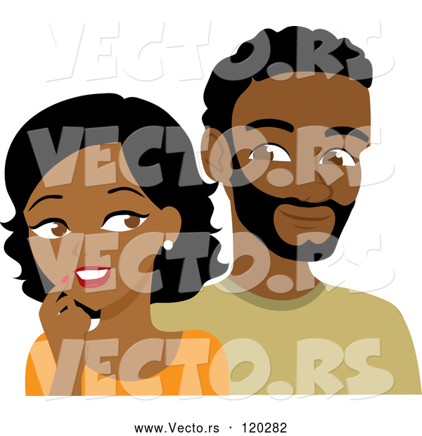 Vector of Cartoon Black Guy and Lady Looking at Each Other