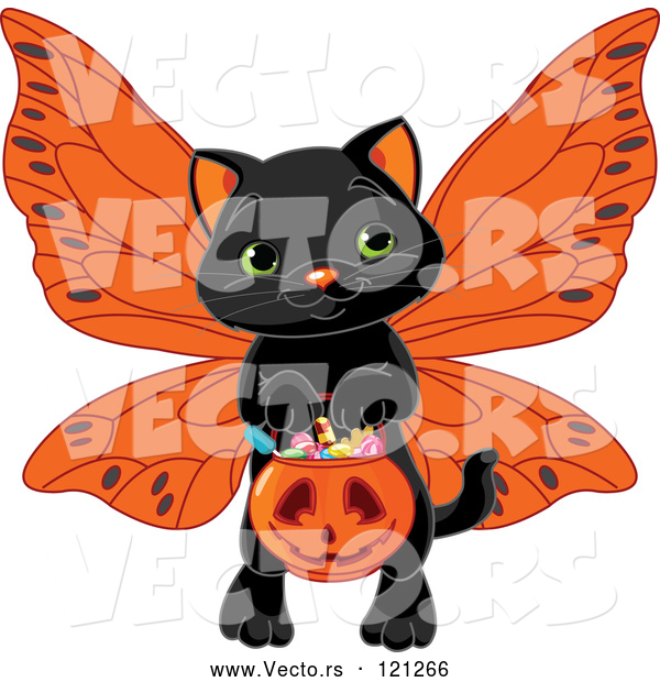 Vector of Cartoon Black Halloween Cat Wearing Wings and Trick or Treating