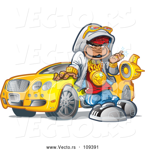 Vector of Cartoon Black Hip Hop Guy Leaning Against His Car and Decked out in Bling
