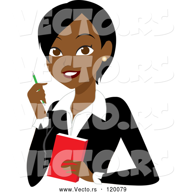 Vector of Cartoon Black or Indian Business Woman with a Pen and Notepad