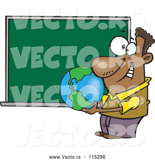 Vector of Cartoon Black Teacher Man Holding a Globe by a Chalkboard
