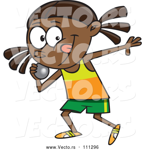 Vector of Cartoon Black Track and Field Girl Throwing a Shotput