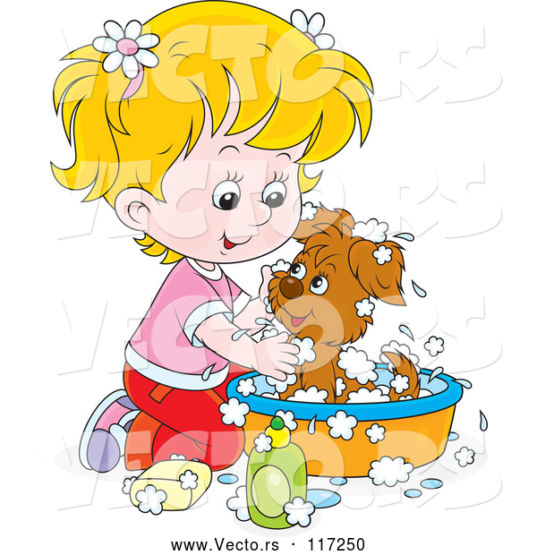 Vector of Cartoon Blond Girl Washing a Puppy in a Tub