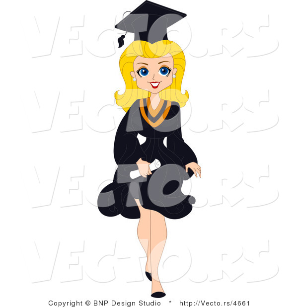 Vector of Cartoon Blond Graduation Pinup Girl Walking Forward with Big Smile