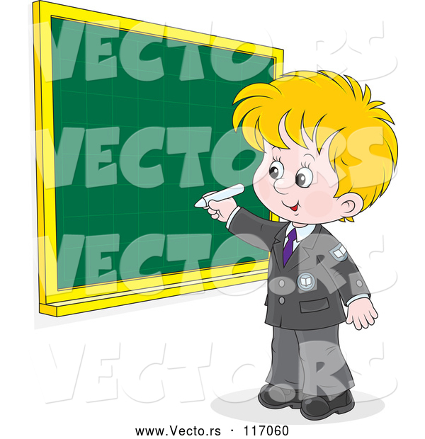 Vector of Cartoon Blond School Boy Writing on a Grid Chalkboard