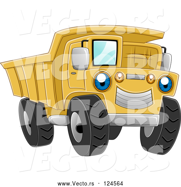 Vector of Cartoon Blue Eyed Yellow Dump Truck Character