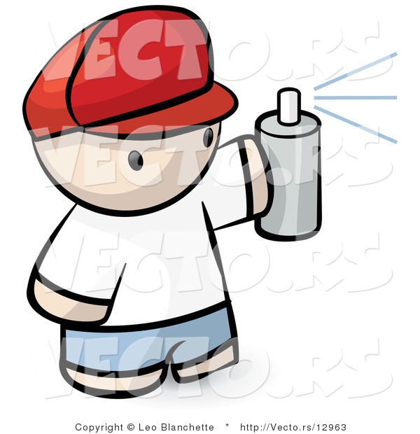 Vector of Cartoon Boy Spraying Paint from Can