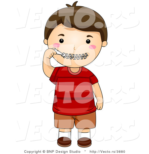 Vector of Cartoon Boy Zipping His Zipper Lips Close