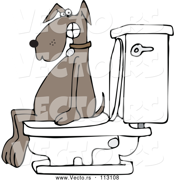 Vector of Cartoon Brown Dog Pooping on a Toilet