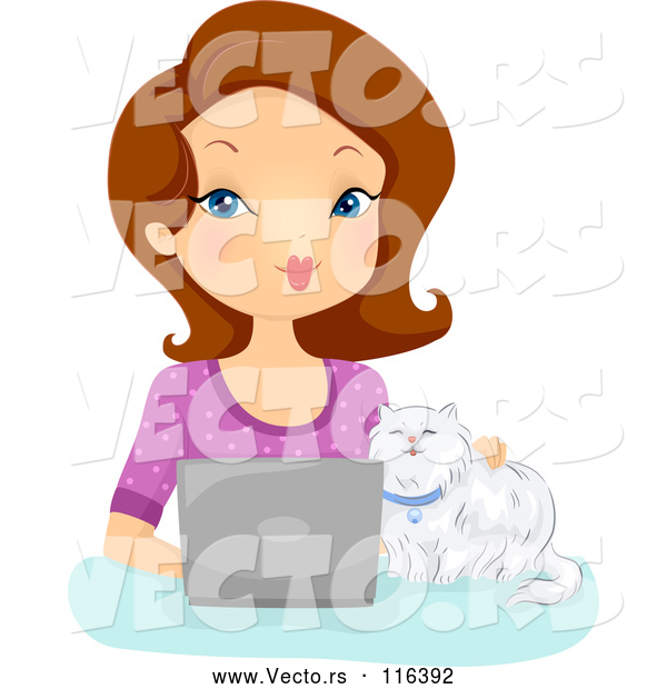 Vector of Cartoon Brunette White Lady and Cat Using a Laptop Computer