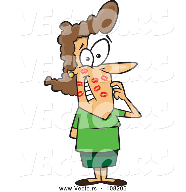 Vector of Cartoon Brunette White Lady Gushing After Getting Kissed All over Her Face