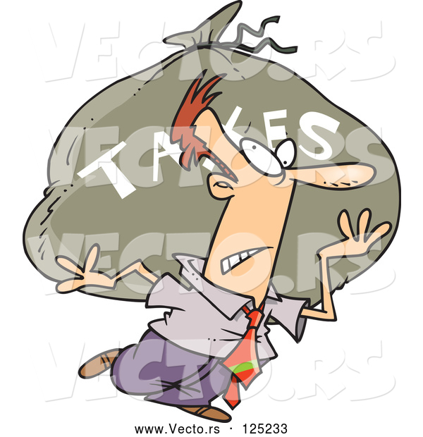 Vector of Cartoon Business Man Carrying a Huge Bag of Money for Taxes