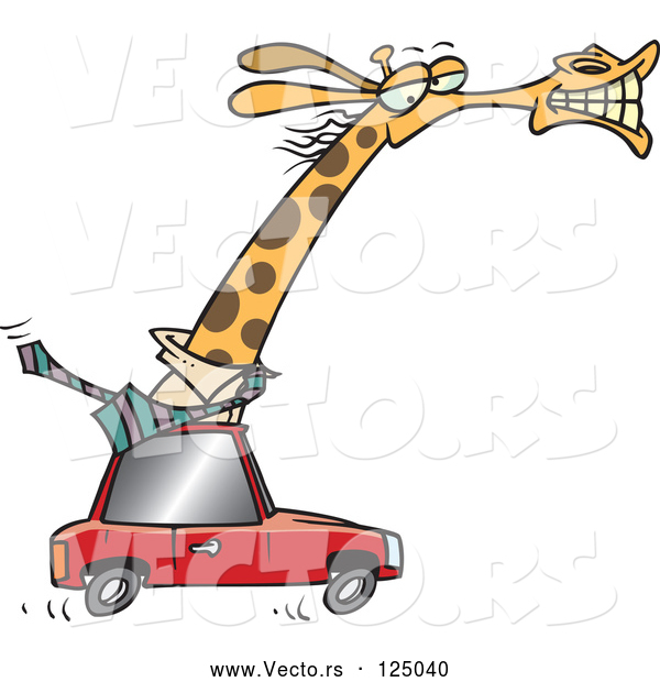 Vector of Cartoon Business Rhino Commuting by Car