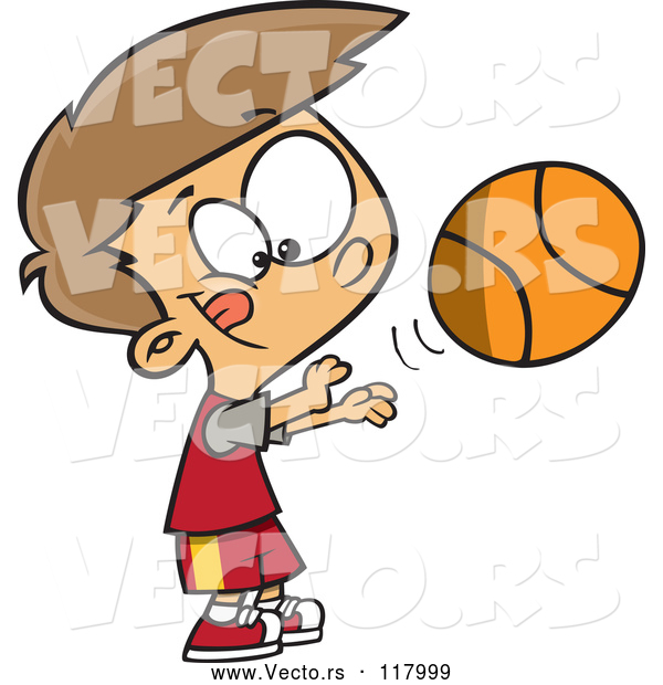 Vector of Cartoon Caucasian Boy Shooting a Basketball
