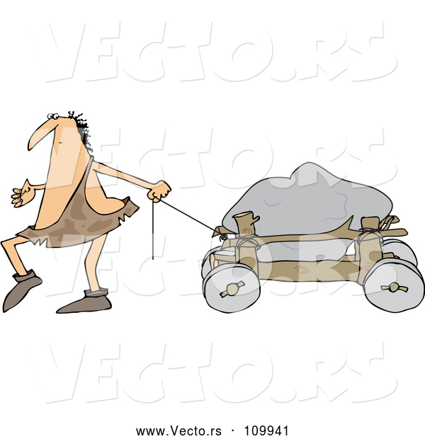 Vector of Cartoon Caveman Pulling a Boulder on a Cart