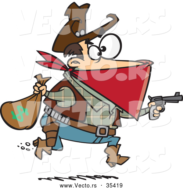 Vector of Cartoon Charles Earl Bowles, Black Bart Outlaw Running with a Stolen Bag of Money While Pointing a Gun Forward