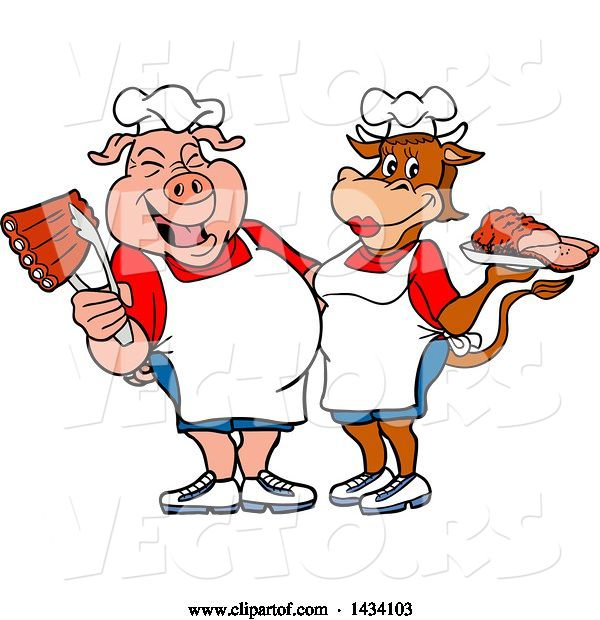 Vector of Cartoon Chef Pig and Cow with Ribs and Brisket