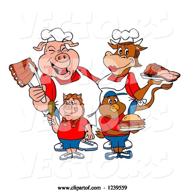 Vector of Cartoon Chef Pig and Female Cow over a Pig Girl and Chicken Boy with Meats