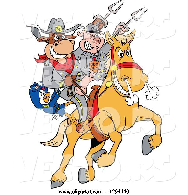 Vector of Cartoon Chicken, Bull and Pig Civil War Soldiers Riding a Horse with Bbq Sauce