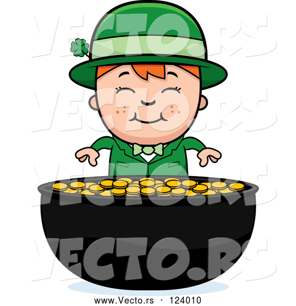 Vector of Cartoon Child Leprechaun Boy and Pot of Gold