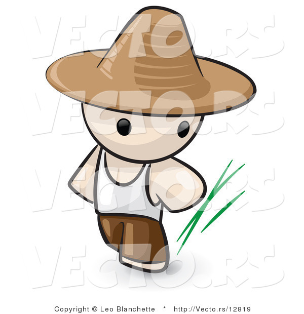 Vector of Cartoon Chinese Farmer Guy Wearing Hat