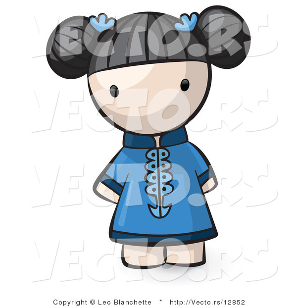 Vector of Cartoon Chinese Girl Wearing Blue Dress