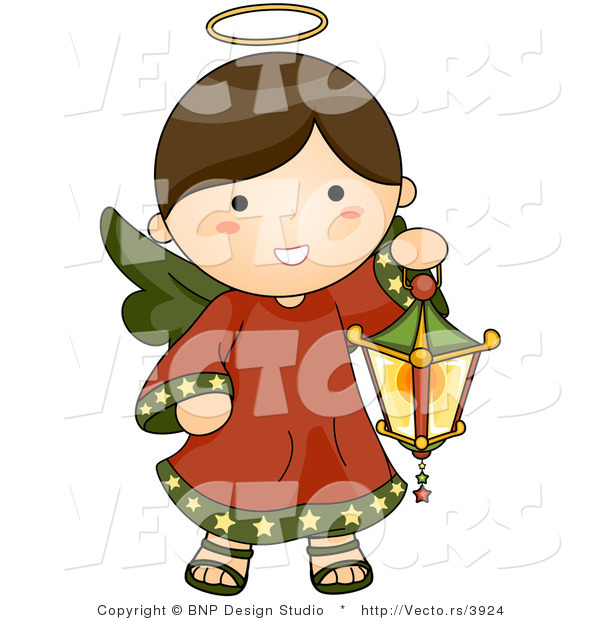 Vector of Cartoon Christmas Angel Girl Carrying a Lantern