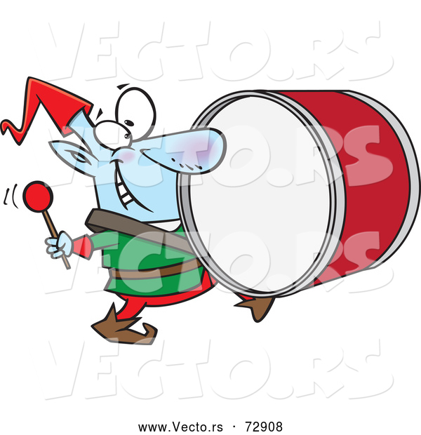 Vector of Cartoon Christmas Elf Playing the Drums