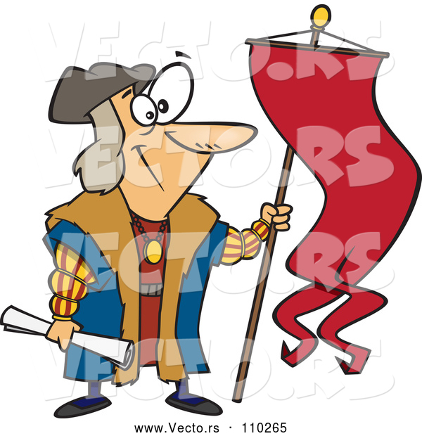 Vector of Cartoon Christopher Columbus Holding a Scroll and Flag